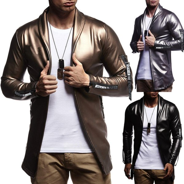 Erkek ilkbahar sonbahar yeni elastik PU deri fermuar motosiklet deri ceket suit katı renk ceket erkek Kore versiyonu
