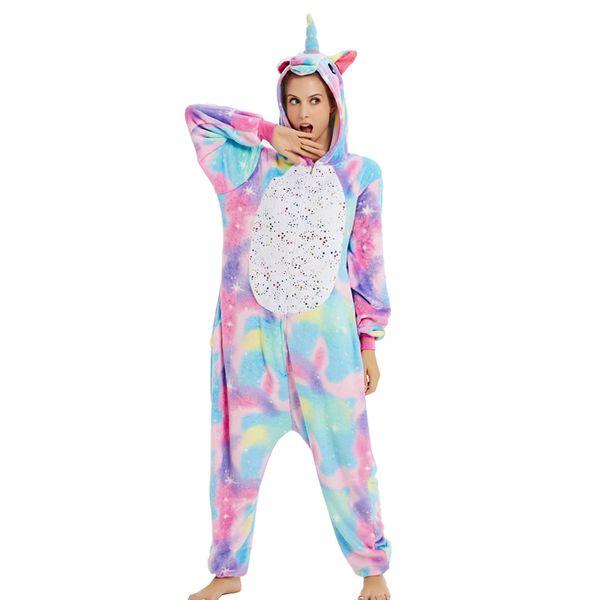 nuovo pigiama arcobaleno animale con cappuccio in flanella donna set morbido inverno adulto uomo donna pigiameria pigiama camicia da notte natale homewear