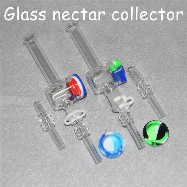 Mini Nectar Collector Kit With 10mm 14mm Quartz tips Mini Glass Pipe Oil Rig Concentrate Honey Dab Straw Pipes with 32*18mm containers