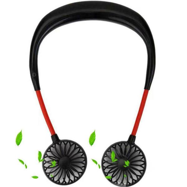 El Ücretsiz Kişisel Taşınabilir Fan USB Şarj Edilebilir Mini Fan Kulaklık Seyahat Giymek Için Tasarım Giyilebilir Boyun Bandı Açık Ofis