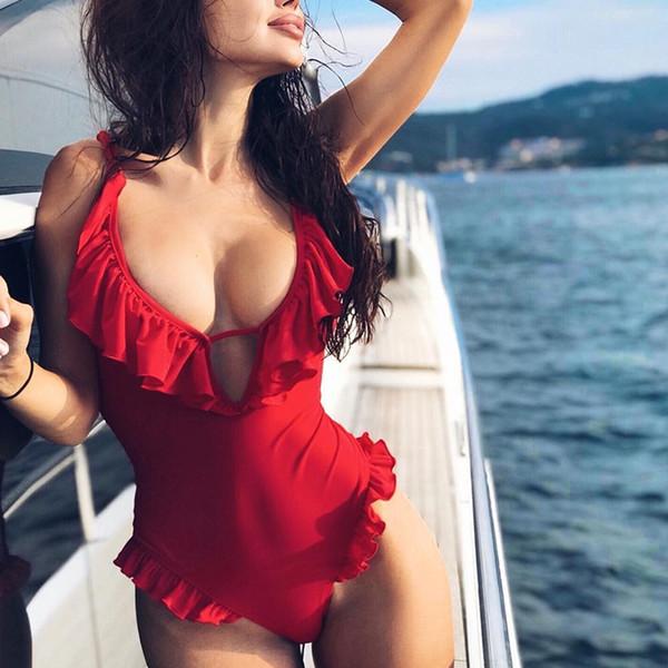 Seksi fırfır Bayan Backless Bikinit Mayo Yıkanma Plajı Tek Parça Sütyen Kadın Derin V yaka Kırmızı İnce Romper bodysuit