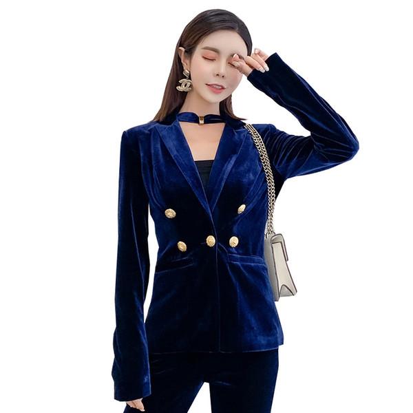 Terno das mulheres de veludo terno trespassado de duas peças terno (casaco + calça) primavera e outono nova moda vestido de emagrecimento magro