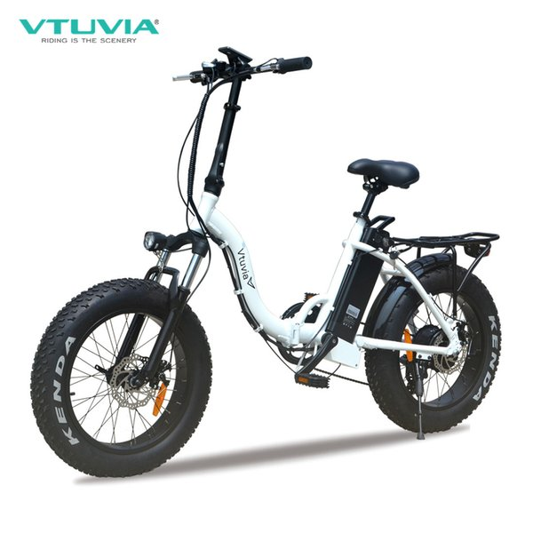 top popular VTUVIA best sale 7 Speed Derailleur electric bicycle 20 inch Fat tire e bike with 12Ah Lithium battery 2020