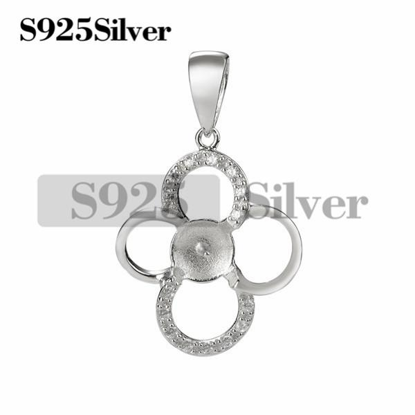 HOPEARL Jewelry Pearl Mounting Pendant 925 Sterling Silver Blanks Cubic Zirconia DIY Making Jewelry for Women