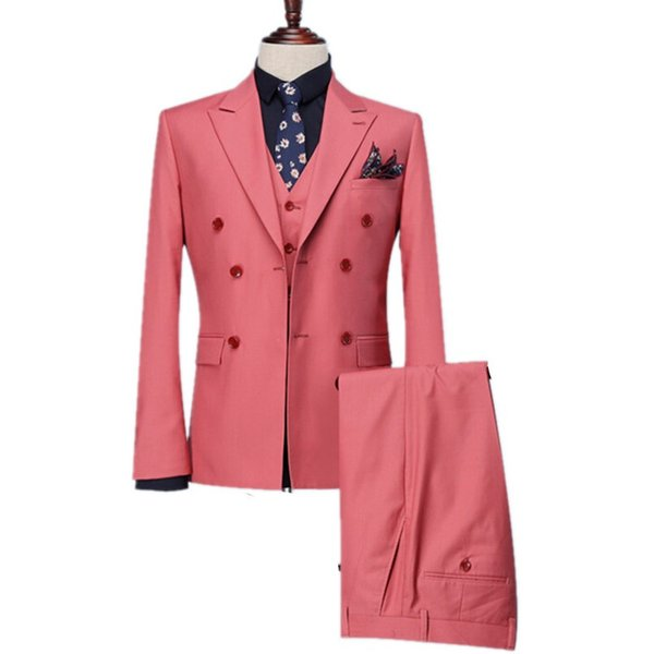 Kruvaze Groomsmen Peak Yaka Damat Smokin Sıcak Pembe Erkek Takım Elbise Düğün / Balo / Akşam Yemeği Best Man Blazer (Ceket + Pantolon + Yelek + Kravat) M996