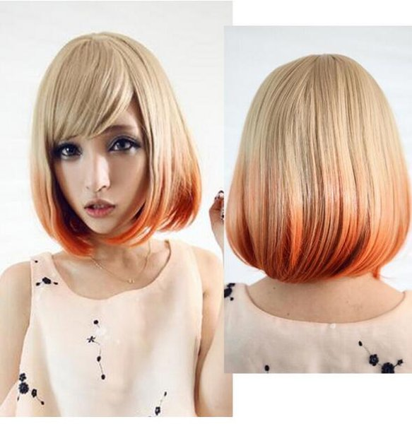 ENVÍO GRATIS + ady sexy rubia naranja degradado corto bob peluca cosplay traje lolita peluca