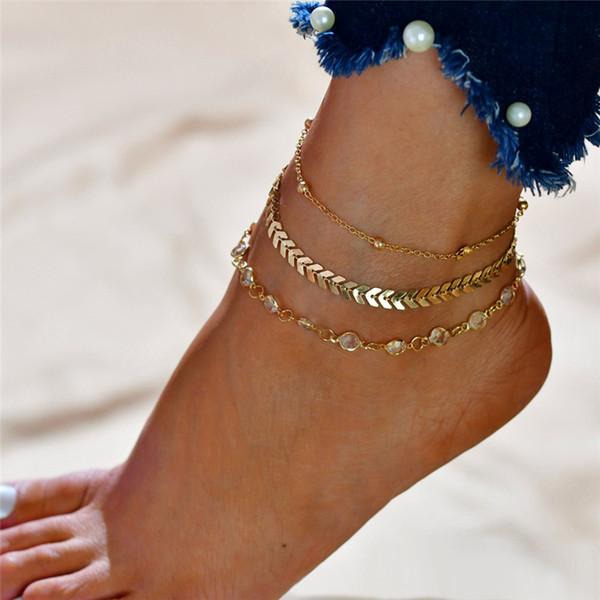 3pcs / set Boemia Perle cavigliere catene del braccialetto per le donne Moda Leg Catena rotonda del calzino della nappa vintage piede monili delle catene del regalo degli accessori
