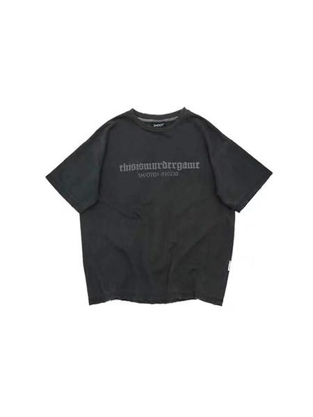 2019 новый стрелять шахматная доска футболка с коротким рукавом мыть старый печатный улица популярный логотип мода пары носить ins T-shirt703