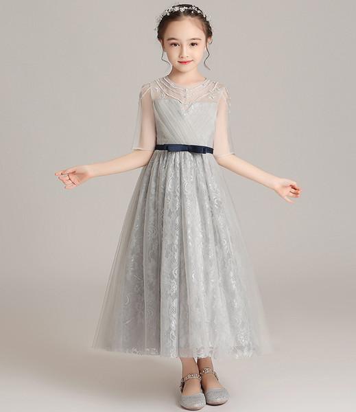 Güzel Gümüş Fildişi Tül Jewel Kollu Boncuk Çay Kız Yarışması Elbise Çiçek Kız Elbise Doğum Elbiseler Custom Made Boyut 2-14 COP702
