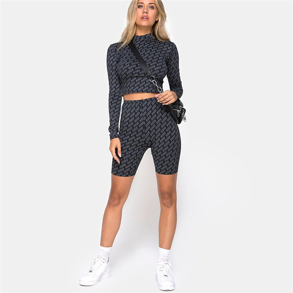 Fashion Printed Skinny Casual Fitness Set Outdoor Jogging Sport Exercise Apparel High Quality Girl Yoga Outfits