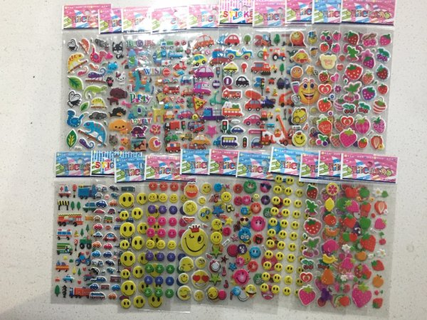 top popular stickers puffy 5 Sheets lot 3D Puffy Bubble Stickers Mixed Cartoon Cars animals fruit Waterpoof DIY Children Kids Boy Girl Toy Hot Sale YYY 2019