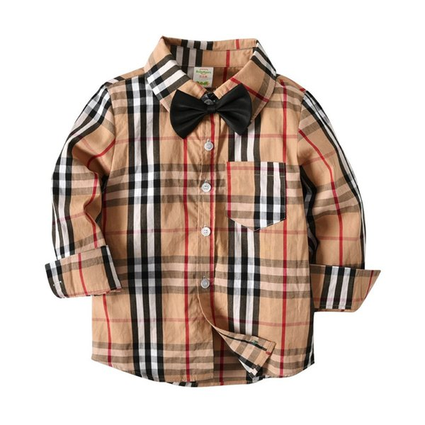 Fall INS Toddler Kids Boys Shirts Gentleman Long Sleeve Tatting Cotton Polo Tshirts Spring Autumn Children Boys Casual Clothing