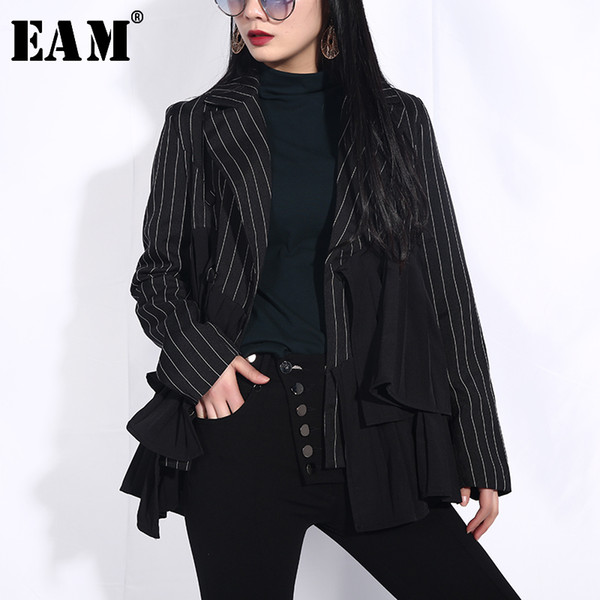 eam] 2019 new spring summer lapel long sleeve black loose striped ruffles pleated stitch jacket women coat fashion tide jo27, Black;brown
