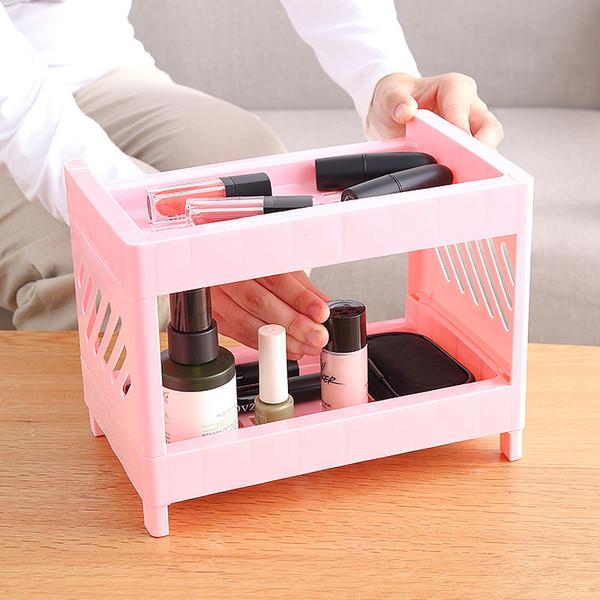 Maquiagem Plastic Organizador Double-Layer Miniatura de armazenamento Cosmetic Nail Polish Batom Titular do terreno Tipo Banho Organizer
