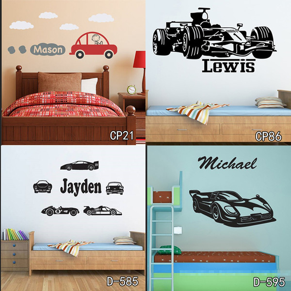Personized Race Car Wall Stickers Home Decor Diy Poster Decals Kids Room Nursery Mural Vinyl Customized Name Tractor Car For Boy Football Wall