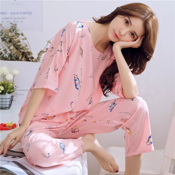 Explosion models pajamas summer ladies casual thin section seven-sleeve trousers cotton silk home pajamas people cotton suit manufacturers b