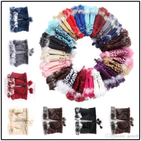16 colores de invierno de moda cálidos guantes sin dedos de piel de conejo mano muñeca guante medio dedos mitones para Lady Women Girls