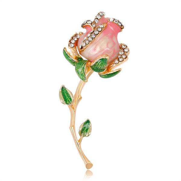 Wedding Bridal Crystal Rose Flower Brooch with Leaf Peals Rhinestone Rose Wedding Bride Brooch