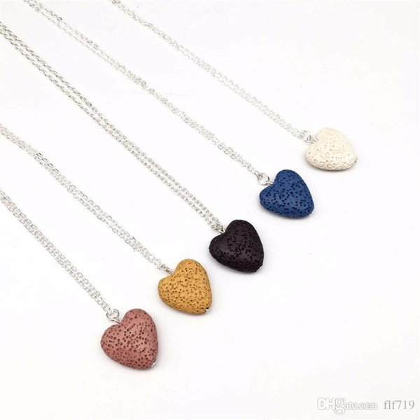 2019 Heart Lava-rock Bead Pendant Long Volcano Statement Necklaces Aromatherapy Essential Oil Diffuser Necklaces Choker Women Men Jewelry