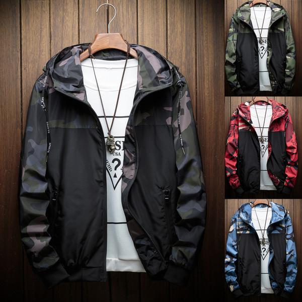 Ceket Erkekler Sonbahar Kış Moda Kamuflaj Hoodie Açık Rüzgar Geçirmez Spor Ceketler Rahat Ceket Erkek Giysileri M-5XL