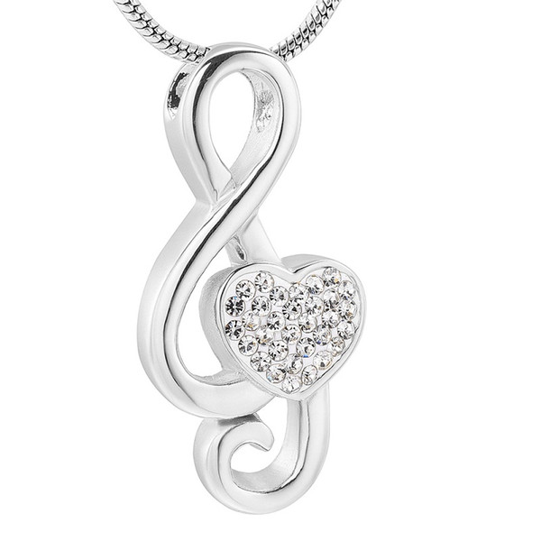 IJD11531 Stainless Steel Silver Crystal Heart Shape Music Notes Keepsake Pendant for Ashes Urn Souvenirs Necklace Jewelry