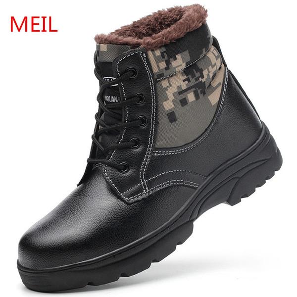 gros chaud hiver chaussures de sécurité au travail en acier toe chaussures d'hiver hommes anti-dérapage bottes de sécurité d'hiver hommes de haute qualité bottes militaires