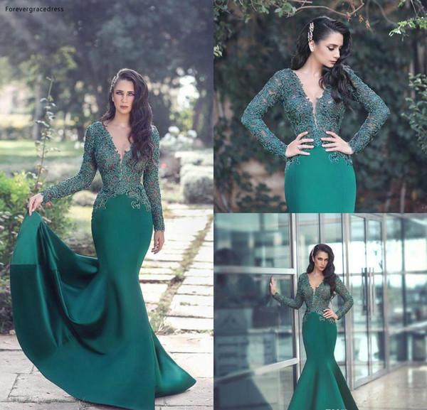 2019 vert sirène soirée robe en dentelle longue Appliques manches formelle Holiday Party Wear Prom robe Custom Made Plus Size