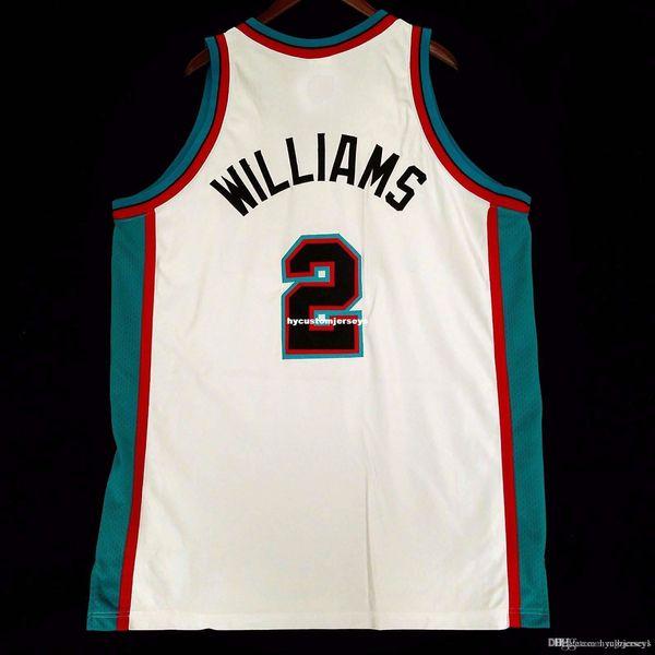 Dikişli% 100 2. Jason Williams Rbk toptan Jersey Erkek Yelek Beyaz XSbedeni-6XL Dikişli basketbol Formalar Ncaa