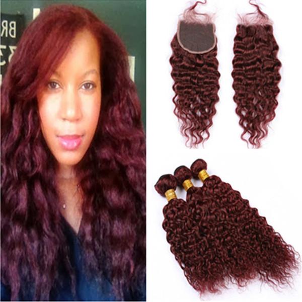 Бразильский влажный и волнистый 99j красное вино ткет человеческие волосы 3Bundles и закрытие бордовый красный волна воды девственные наращивание волос с кружевной застежкой