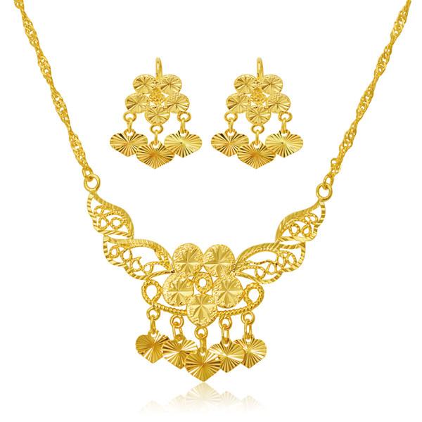 (244S) bijoux de mariage coeur charme boucles d'oreilles et collier ensemble de bijoux pour les femmes mariée 24 k plaqué or pur de haute qualité