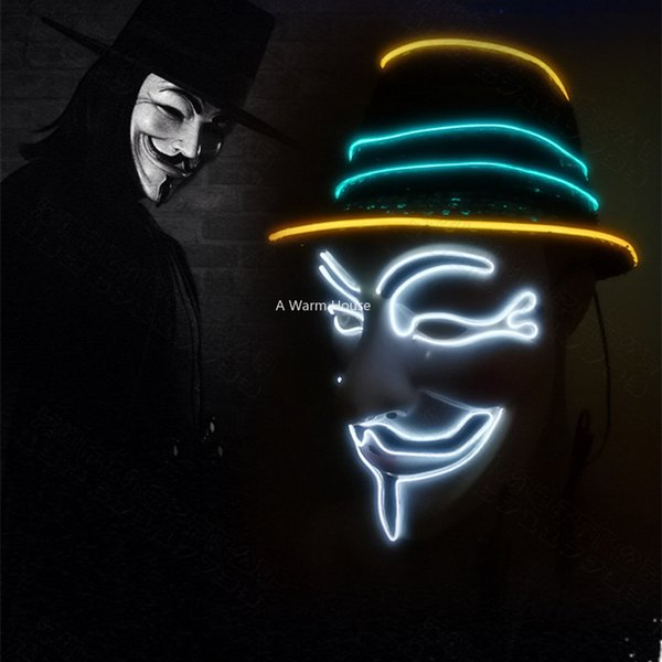 Neon Mask V for Vendetta Mascara Led Guy Fawkes Masque Masquerade Masks Party Mascara Halloween Glowing Masker Light Maska Scary