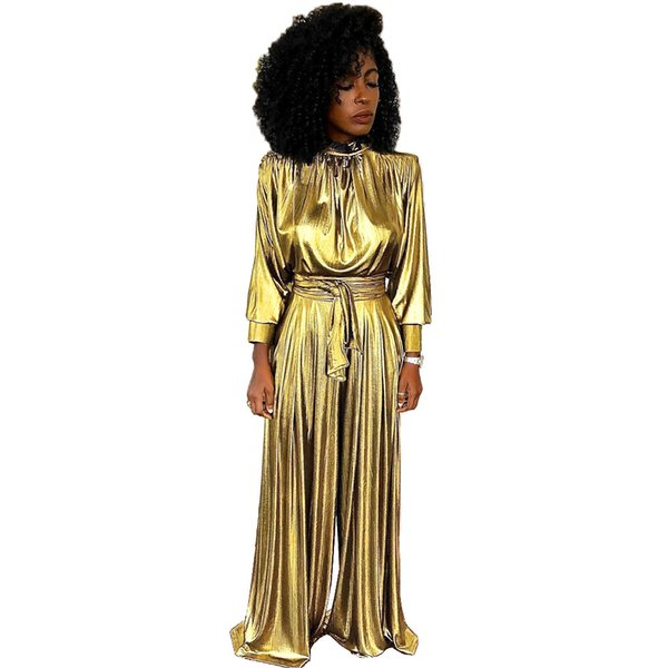 chaussures de sport 6ff1f 0577e 2019 Hot Sale Golden Rompers Women Jumpsuit Full Sleeve One Piece Wide Leg  Pants Combinaison Femme L6083 From Weikelai, $46.63 | DHgate.Com