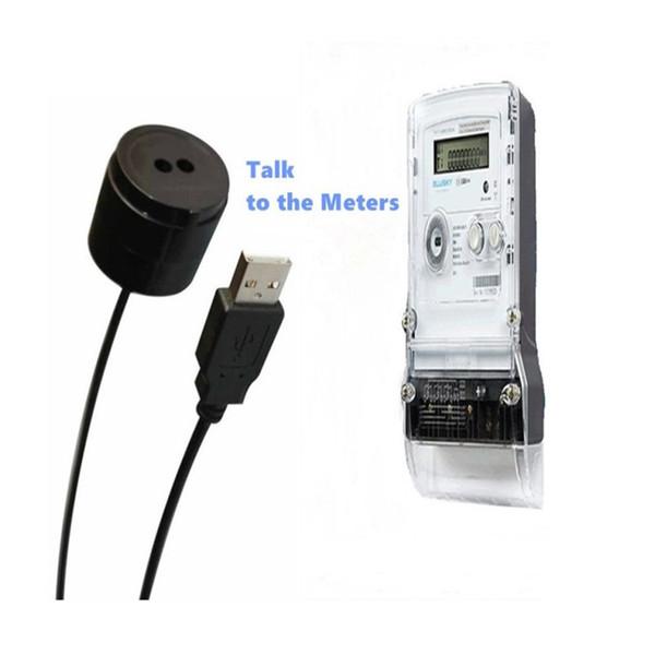 (5pcs / pack) ABS Matériel Noir Couleur Port USB 2M Longueur Droit Câble IR Sonde Optique Pour Mètre Électrique