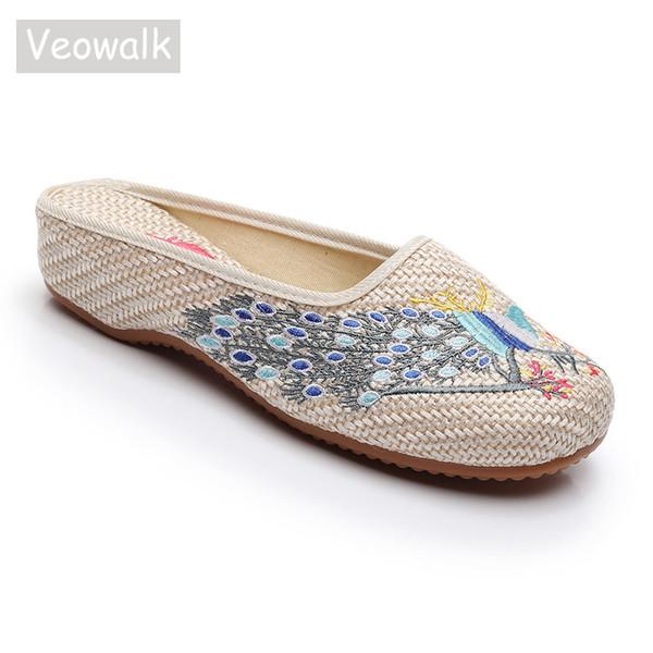 Veowalk Tavuskuşu Işlemeli Kadın Keten Yakın Ayak Düz Terlik Konfor Yumuşak Bayanlar Slaytlar Retro Çin Nakış Ayakkabı Bej