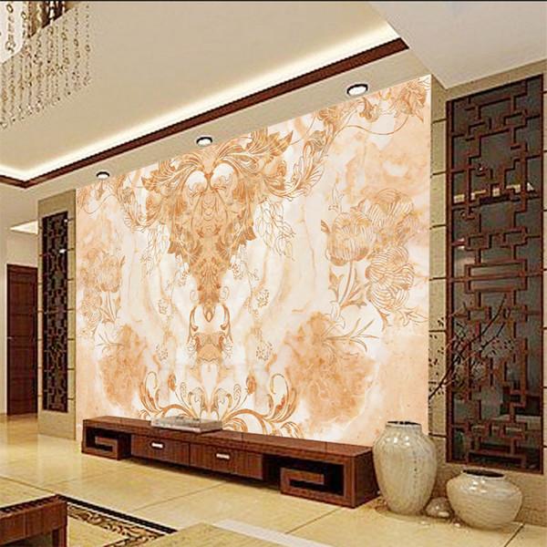 Benutzerdefinierte 3d europäischen Marmor Blumenmuster Design Tapete Vintage Persönlichkeit Wohnzimmer Esszimmer Wandaufkleber Hauptwand lpaper