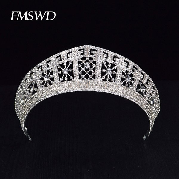 Luxury Trendy Gold Silver Color Big Tiaras For Bride Crystal Rhinestone Shiny Crowns For Wedding Prom Hair Jewelry Accessories J 190430