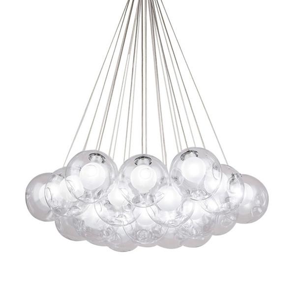 Modern Metal LED Pendant Lights 1/3/7/13/19 Heads Clear Glass Ball Lampshade Hanglamp 110-220V E27 Bedroom pendant lamp
