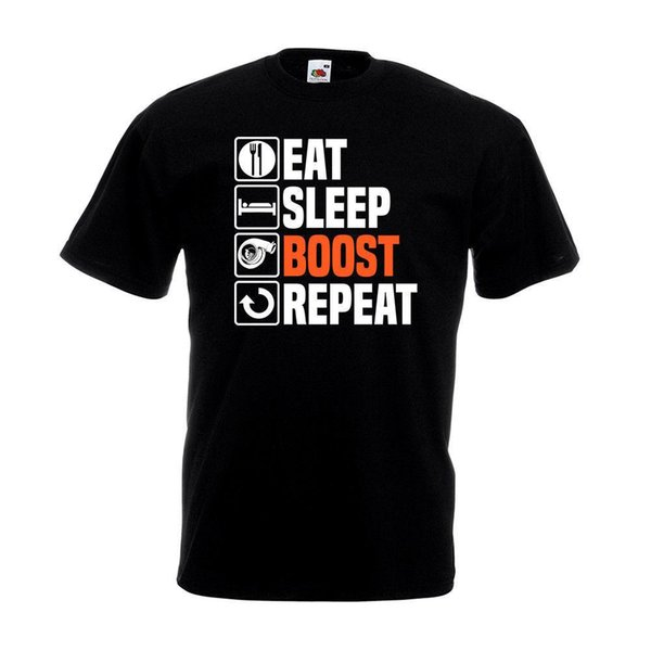 Eat Sleep Boost Repeat T-Shirt Race Cars Birthday Christmas Gift Top Son Tee Shirt For Men O-Neck Tops Male