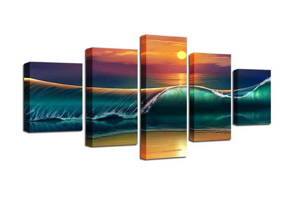 Painting Art Poster Wall 5 Panel Sea Sunrise Modern Modular Picture Home Decoration Print On Canvas For Living Room Unframed Gifts