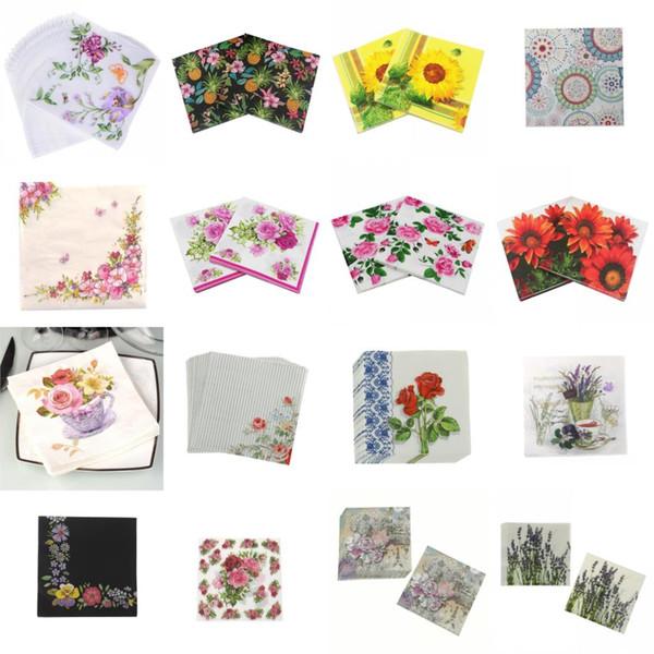 top popular 20PCS pack Bloosm Rose Floral Flower Theme Paper Napkins Tissue Napkins Decoupage Decoration Festive Party Supplies 2021