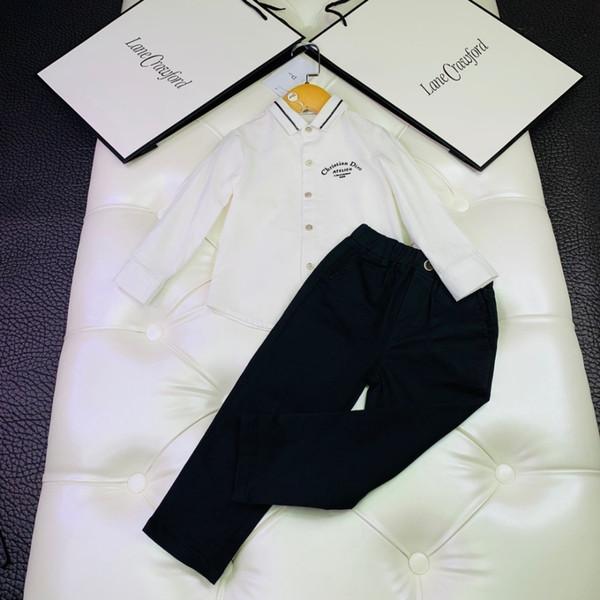 D autunno vestito per bambini ragazzi tuta a maniche lunghe pantaloni casual con set camicia camicia ricamata