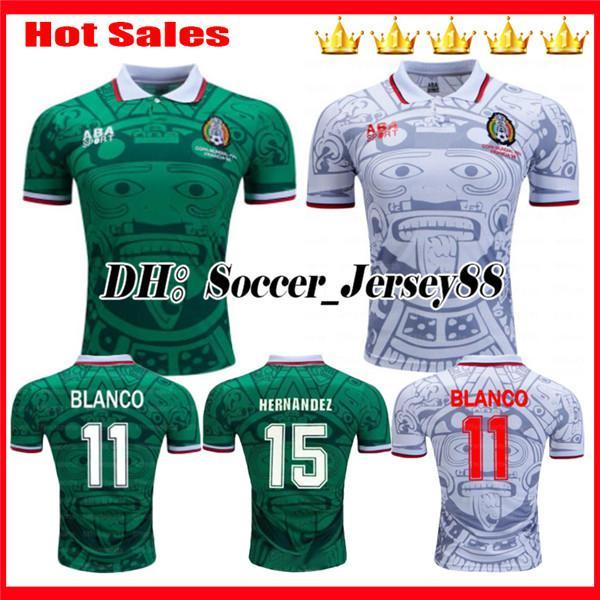 1998 Mexiko Retro Weltmeisterschaft Klassische Vintage Fußball Trikots HERNANDEZ 11 # BLANCO H.SANCHEZ Ramirez Heim Grün Auswärts Weiß Fußball Trikots