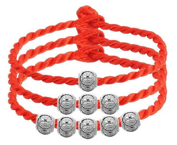 Toptan 925 Gümüş Good Luck Boncuk Vintage Charm Lucky Aşk Boncuk Bileklik Takı 5 ile Red String Zincir Bileklik