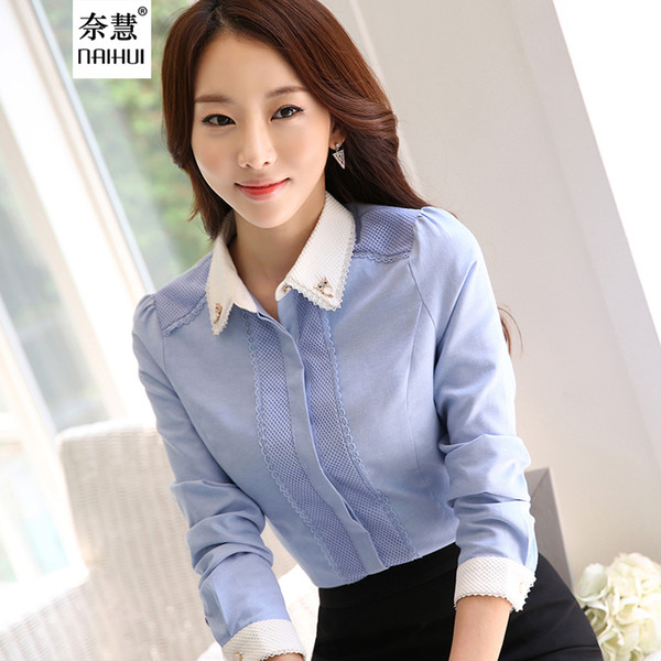 4d31e0d13d7ac2 Women Cotton Shirt elegant White Blouse with accessories Female Ladies work  wear office shirt New Fashion Long Sleeve