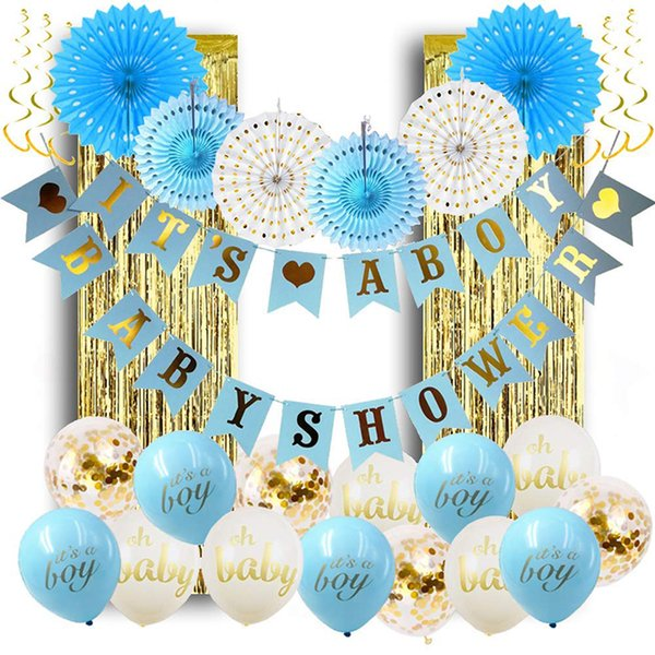 Baby Shower Boy Birthday Party Confetti Balloon Decorations Gender Reveal  Supplies Birthday Party Decor Baby Shower Favors Blue Paper Fan Discount