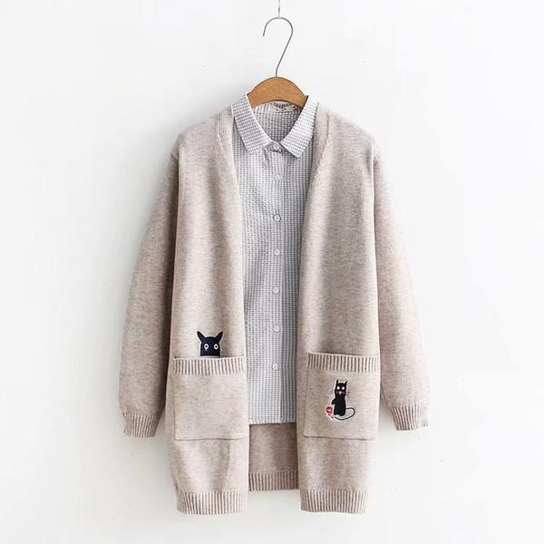 Kitten embroidery femine Cardigan sweater mori girl autumn winter 2018