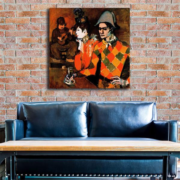 Arlequín con vidrio 1905 por Pablo Picasso HD Art Canvas Poster Pintura Cuadro de la pared Imprimir Dormitorio Dormitorio Marco
