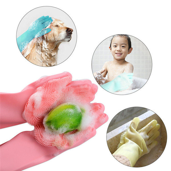 Magic Silicone Gloves Cleaning Brush Non-slip Gloves Resuable Household Scrubber Dishwashing Gloves Kitchen Bathroom Tool Christmas Gift new