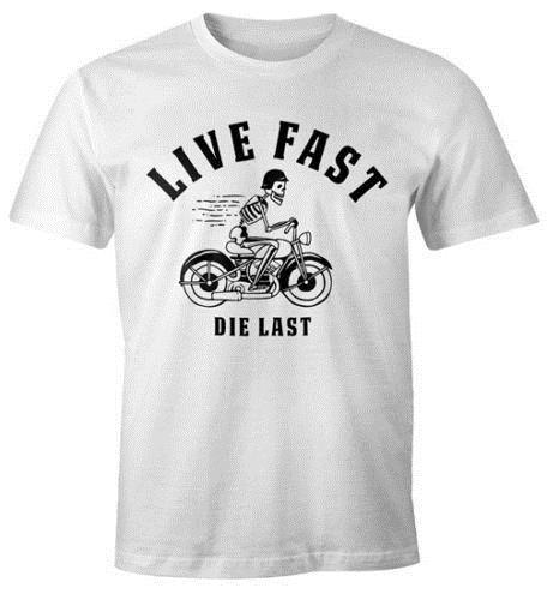 Canlı Hızlı Die son Herren Spruch Eğlenceli T-Shirt Eğlenceli Gömlek Moonworks® Mens 2018 moda Marka% 100% pamuk Baskılı Yuvarlak Boyun