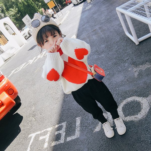 WLG Girls autumn winter heart printed sweaters kids white black thick casual cardigan baby all match knitted sweater children